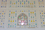 Frescoes in natural pigments at  Sukh Mandir Diwan-I-Khas Pleasure Palace at The Amber Fort in Jaipur, Rajasthan, India