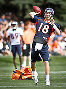 SHOT 7/25/13 9:31:53 AM - Denver Broncos quarterback Peyton Manning #18 drops back to pass as he runs through drills during opening day of the team's training camp July 25, 2013 at Dove Valley in Englewood, Co.  (Photo by Marc Piscotty / © 2013)