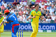 Wicket - Pat Cummins of Australia celebrates taking the wicket of Hazratullah Zazai of Afghanistan during the ICC Cricket World Cup 2019 match between Afghanistan and Australia at the Bristol County Ground, Bristol, United Kingdom on 1 June 2019.