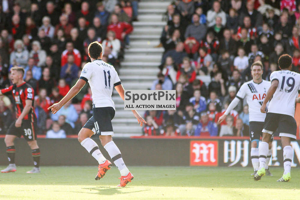 Erik Lamela celebrates his goal During Bournemouth vs Tottenham Hotspur on Sunday 25th of October 2015.