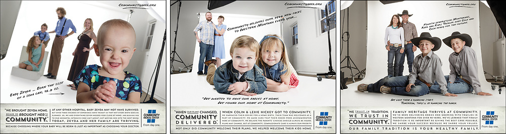 This campaign celebrated the different ways Community Medical Center helped different  families with their child birth, from extremely premature Zedya to Colin rushing his 'at home birth' to the hospital for help one winter night.... Collateral :: three 60 sec commercials, billboard, print and social for each family's story.