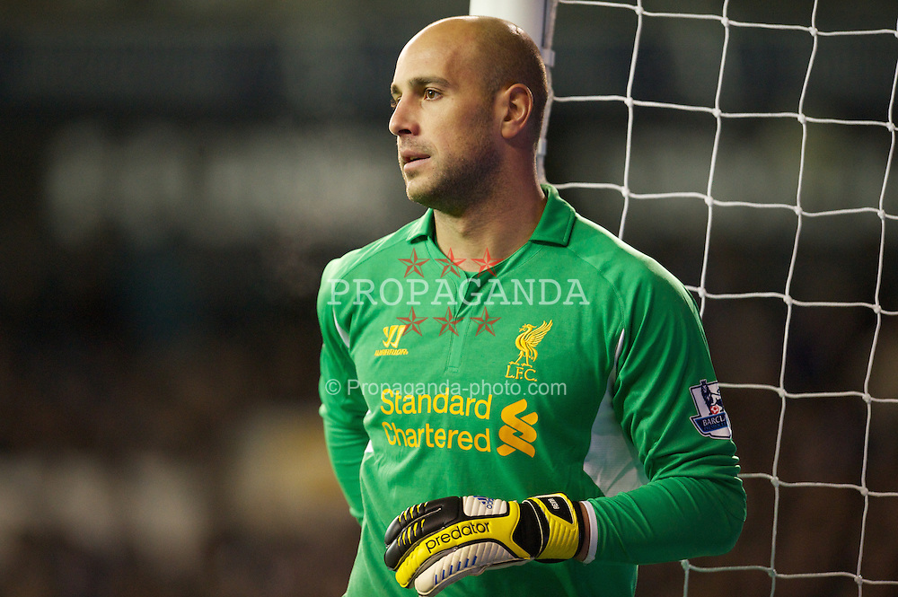LONDON, ENGLAND - Wednesday, November 28, 2012: Liverpool's goalkeeper Jose Reina in action against Tottenham Hotspur during the Premiership match at White Hart Lane. (Pic by David Rawcliffe/Propaganda)