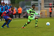 Forest Green Rovers Drissa Traoré(4) runs forward during the Vanarama National League first leg play off match between Dagenham and Redbridge and Forest Green Rovers at the London Borough of Barking and Dagenham Stadium, London, England on 4 May 2017. Photo by Shane Healey.
