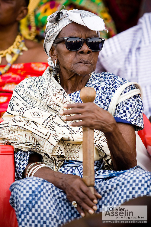 An old woman sits among chiefs the annual Oguaa Fetu Afahye Festival in Cape Coast, Ghana on Saturday September 6, 2008.
