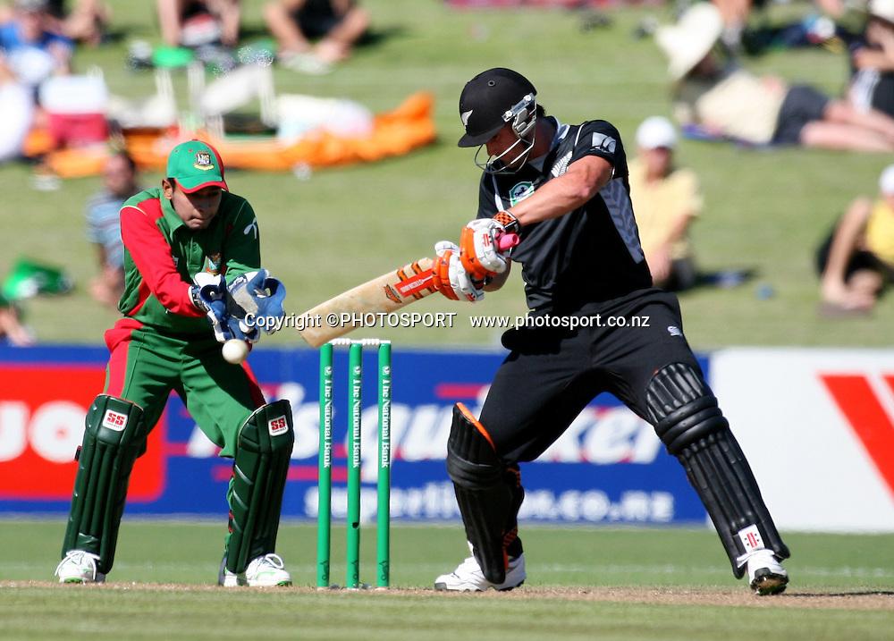 Neil Broom plays a shot. New Zealand Black Caps v Bangladesh. 1st ODI. McLean Park, Napier. Friday 05 February 2010  Photo: John Cowpland/PHOTOSPORT