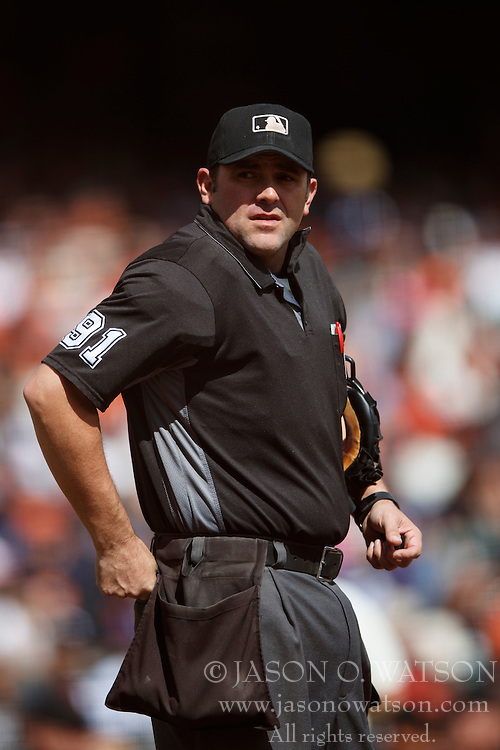 SAN FRANCISCO, CA - OCTOBER 02: MLB umpire Brian Knight #91 stands on the field during the first inning between the San Francisco Giants and the Los Angeles Dodgers at AT&T Park on October 2, 2016 in San Francisco, California. The San Francisco Giants defeated the Los Angeles Dodgers 7-1. (Photo by Jason O. Watson/Getty Images) *** Local Caption *** Brian Knight