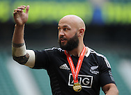 LONDON, ENGLAND - Sunday 11 May 2014, D J Forbes of New Zealand during the Cup final match between New Zealand and Australia at the Marriott London Sevens rugby tournament being held at Twickenham Rugby Stadium in London as part of the HSBC Sevens World Series.<br /> Photo by Roger Sedres/ImageSA