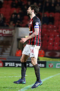 Blackburn Rovers defender and Captain Charlie Mulgrew (14) is hobbling during the EFL Sky Bet League 1 match between Doncaster Rovers and Blackburn Rovers at the Keepmoat Stadium, Doncaster, England on 24 April 2018. Picture by Mick Atkins.