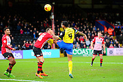 Dagenham & Redbridge's Joss Labadie head the ball for a goal during the Sky Bet League 2 match between Exeter City and Dagenham and Redbridge at St James' Park, Exeter, England on 2 January 2016. Photo by Graham Hunt.