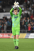 Leeds United goalkeeper Bailey Peacock-Farrell (1) during the EFL Sky Bet Championship match between Swansea City and Leeds United at the Liberty Stadium, Swansea, Wales on 21 August 2018.