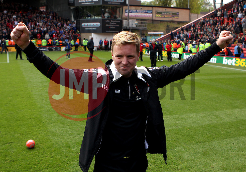 Bournemouth Manager, Eddie Howe celebrates leading Bournemouth to The Sky Bet Championship title - Photo mandatory by-line: Robbie Stephenson/JMP - Mobile: 07966 386802 - 02/05/2015 - SPORT - Football - Charlton - The Valley - Charlton v AFC Bournemouth - Sky Bet Championsip