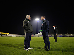 Weston super mare Groundsman Bob Flasket speaks to Doncaster Rovers Manager, Paul Dickov prior to kick off. - Photo mandatory by-line: Alex James/JMP - Mobile: 07966 386802 - 18/11/2014 - SPORT - Football - Weston-super-Mare - Woodspring Stadium - Weston-super-Mare v Doncaster - FA Cup - Round One