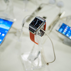 London, UK - 17 March 2014:  Galaxy Gear smartwatch by Samsung is on show at the Wearable Technology Conference at Olympia in London
