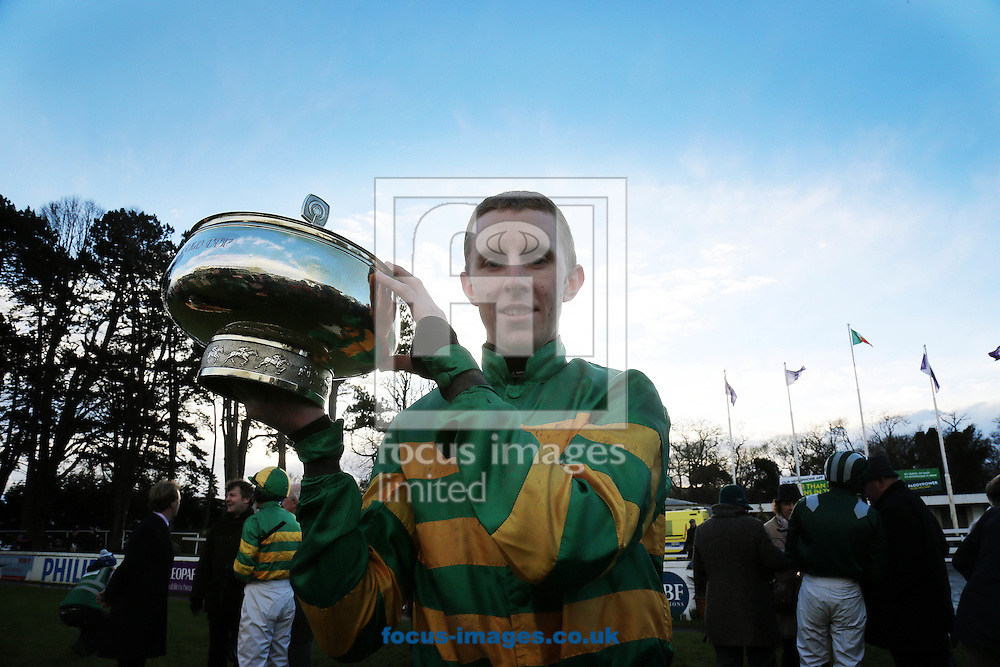 Mark Walsh on Carlingford Lough celebrates winning the Irish Gold Cup at Leopardstown Racecourse, Eire.<br /> Picture by Lorraine O'Sullivan/Focus Images Ltd +353 872341584<br /> 06/02/2016