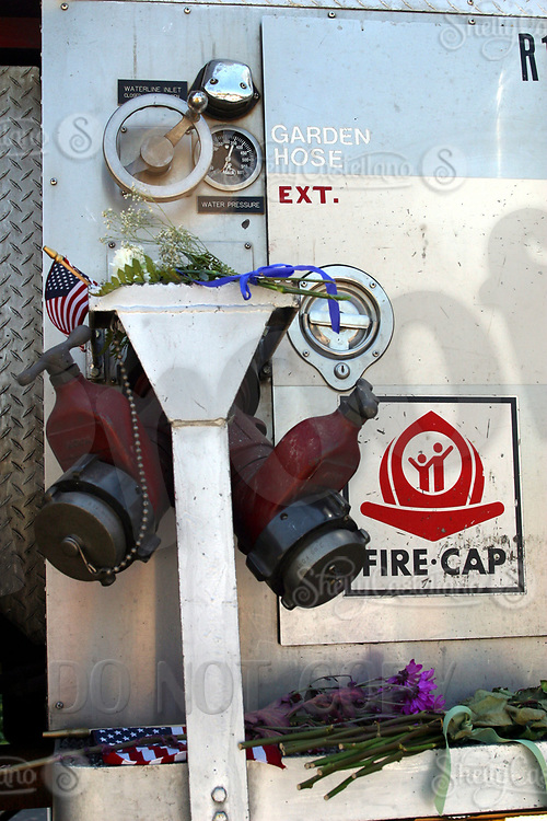 Sep 10, 2002; Yorba Linda, California, USA; Details on a rescued 9/11 Queens fire truck that is on exhibit at the Richard Nixon Library &amp; Birthplace.<br />Mandatory Credit: Photo by Shelly Castellano/ZUMA Press.<br />(&copy;) Copyright 2002 by Shelly Castellano