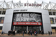 Derby County's Toyota West Stand entrance during the Sky Bet Championship match between Derby County and Milton Keynes Dons at the iPro Stadium, Derby, England on 13 February 2016. Photo by Jon Hobley.