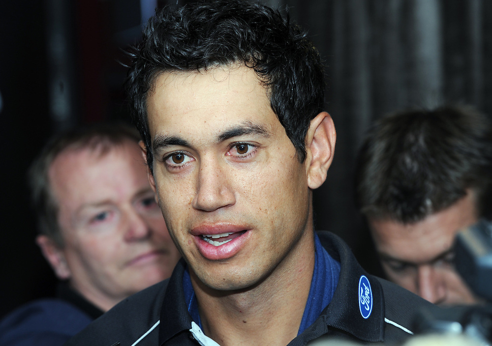 New Zealand cricket captain Ross Taylor speaks to the media after an operation on his left forearm following its breaking while batting against South Africa in the third test, Wellington, New Zealand, Wednesday, March 28, 2012. Credit:SNPA / Ross Setford