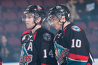 KELOWNA, CANADA - DECEMBER 5: Rourke Chartier #14 and Nick Merkley #10 of Kelowna Rockets line up against the Prince George Cougars on December 5, 2014 at Prospera Place in Kelowna, British Columbia, Canada.  (Photo by Marissa Baecker/Shoot the Breeze)  *** Local Caption *** Rourke Chartier; Nick Merkley;