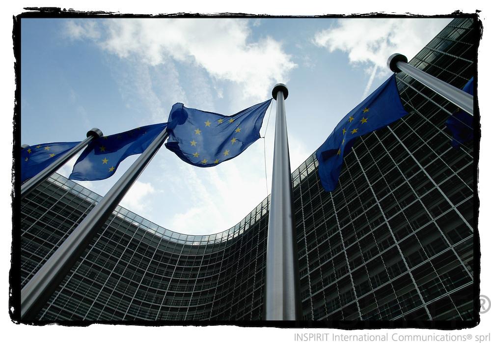 BRUSSELS - BELGIUM - 02 JUNE 2005 --EU Flags in front of the European Commission building Berlaymont.-- PHOTO: ERIK LUNTANG / INSPIRIT Photo..