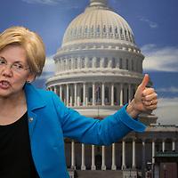U.S. Senator Elizabeth Warren, Democrat from Massachusetts, gestures in front of a photograph of the U.S. Capitol in her Washington, DC office on April 15, 2015.