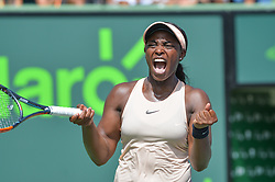 March 29, 2018 - Miami, FL, United States - KEY BISCAYNE, FL - MARCH, 29: Sloane Stephens (USA) celebrates during day 11 of the 2018 Miami Open held at the Crandon Park Tennis Center on March 29, 2018 in Key Biscayne, Florida. (Credit Image: © Andrew Patron via ZUMA Wire)