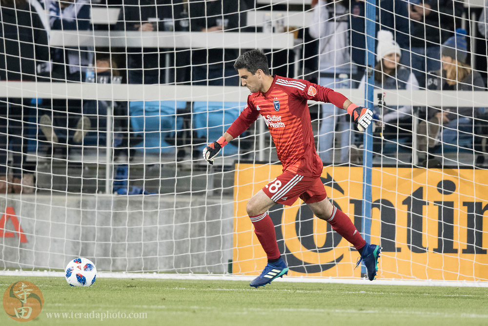 May 19, 2018; San Jose, CA, USA; San Jose Earthquakes goalkeeper Andrew Tarbell (28) during the second half against D.C. United at Avaya Stadium. D.C. United defeated the Earthquakes 3-1.