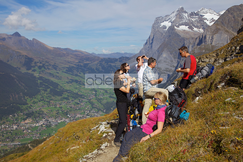 Group of Hikers Taking a Break on Eiger Trail