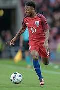 Raheem Sterling (England) looks up to cross the ball into the penalty box during the Friendly International match match between England and Australia at the Stadium Of Light, Sunderland, England on 27 May 2016. Photo by Mark P Doherty.