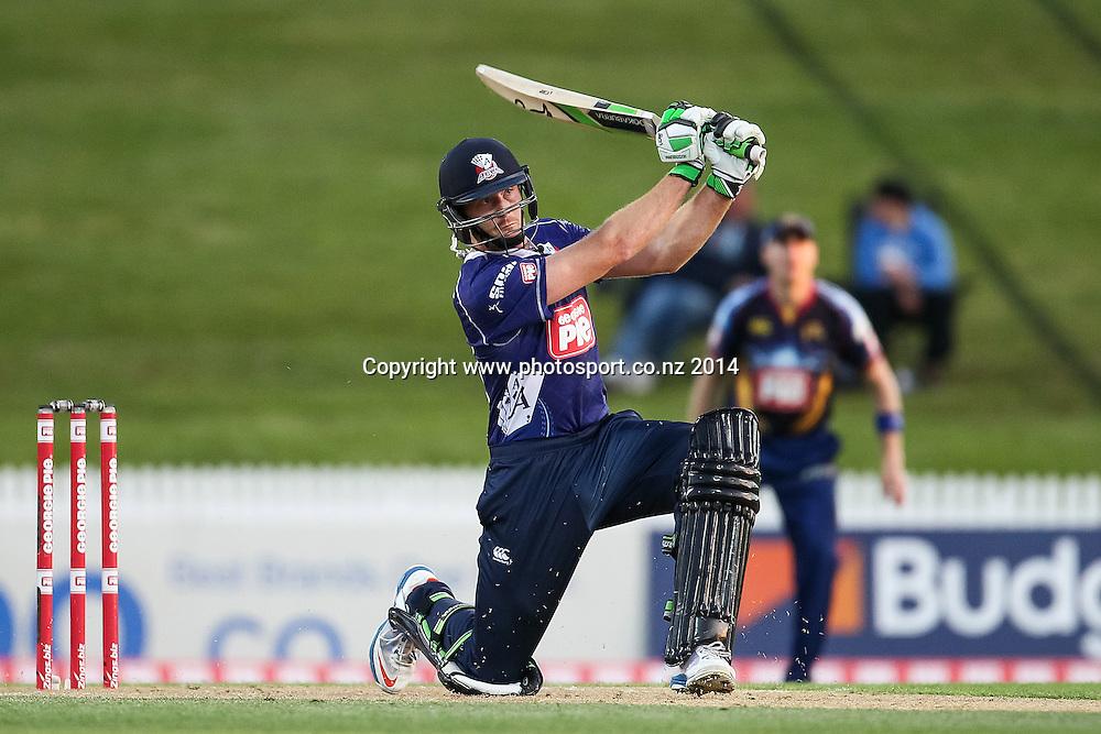 Auckland Ace's Martin Guptill hits a six during the Georgie Pie Super Smash T20 cricket match - Volts v Aces at Seddon Park, Hamilton, New Zealand on Saturday 1 November 2014.  Photo: Bruce Lim / www.photosport.co.nz