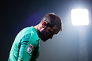 Derby County (1) Scott Carson  during the EFL Sky Bet Championship match between Brentford and Derby County at Griffin Park, London, England on 26 September 2017. Photo by Sebastian Frej.