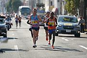 Sondre Nordstad Moen (NOR) defeats Stephen Kiprotich (UGA) to win the 2017 Fukuoka Marathon in 2:05:48 in Fukuoka, Japan on Sunday, Dec. 3, 2017.  (Kazuaki Matsunaga/ Image of Sport)