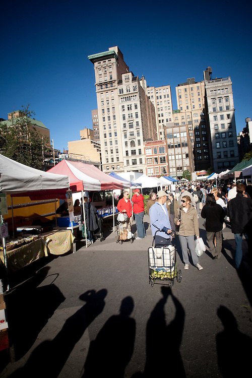 New Yorkers shopping at the Union Square green market.