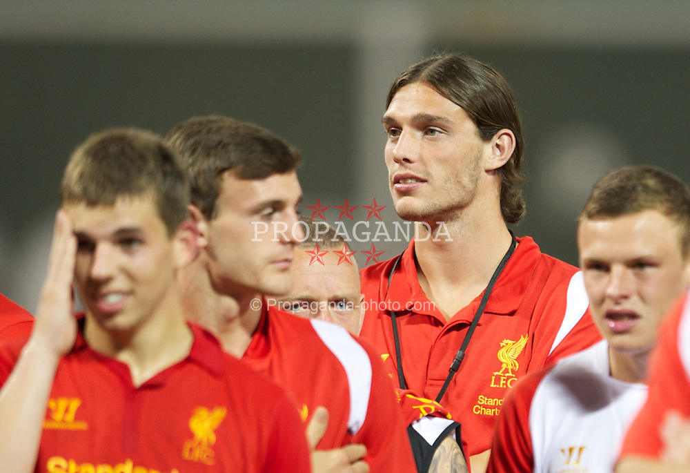 BOSTON, MA - Wednesday, July 25, 2012: Liverpool's Andy Carroll after the 2-1 defeat to AS Roma during a pre-season friendly match at Fenway Park, home of the Boston Red Sox, the second match of the Reds' North American tour. (Pic by David Rawcliffe/Propaganda)