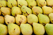 Pears on sale at food market at food market in Bordeaux region of France