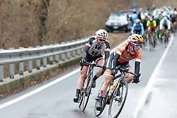 Karol-Ann Canuel (CAN) of Boels-Dolmans Cycling Team corners during the Trofeo Alfredo Binda - a 131,1 km road race, between Taino and Cittiglio on March 18, 2018, in Varese, Italy. (Photo by Balint Hamvas/Velofocus.com)