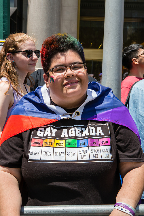 """New York, NY - 25 June 2017. New York City Heritage of Pride March filled Fifth Avenue for hours with groups from the LGBT community and it's supporters. A woman spectator with a T-shirt that reads """"Gay Agenda"""", and with the details of the weekly agenda."""