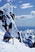 Tom Dempsey on Mount Olympus False Summit (7880 ft, near West Peak). Olympic National Park is a UNESCO World Heritage Site, in Washington, USA. May 30, 1982.