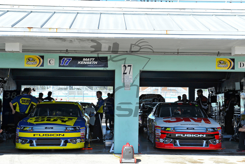 Homestead, FL - Nov 17, 2012: The Nascar Sprint Series teams take to the track during practice for the Ford ECOBOOST 400 at the Homestead-Miami Speedway in Homestead, FL.