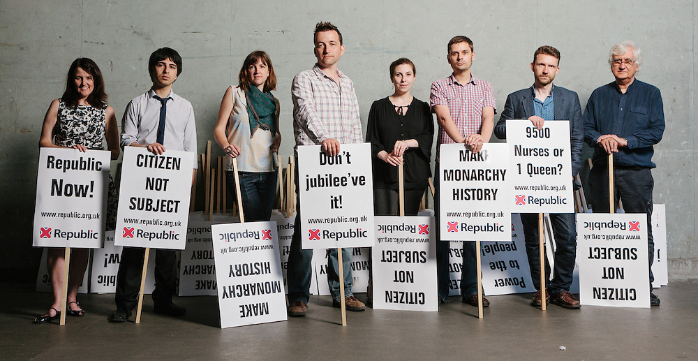 Anti-monarchist group, Republic, from left to right; Paula Feehan, Adam Barnett, Emily Robinson, Graham Smith, Jen Gingell, James Gray, Andrew Child, and Peter Jenkins. Photographed in London, 28th May 2012.
