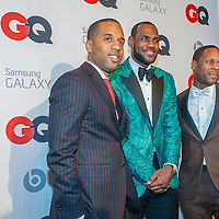 Lebron James with associates posing at the GQ & Lebron James NBA All Star Style party sponsored by Samsung Galaxy on Saturday, February 15, 2014, at the Ogden Museum of Southern Art in New Orleans, Louisiana with live jam session from grammy Award-winning Artist The Roots. Photo Credit: Gustavo Escanelle / Retna Ltd.