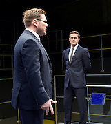 Bull <br /> by Mike Bartlett <br /> at Young Vic, London, Great Britain <br /> Press photocall <br /> 14th December 2015 <br /> <br /> <br /> Max Bennett as Tony <br /> <br /> Marc Wootton as Thomas <br /> <br /> Photograph by Elliott Franks <br /> Image licensed to Elliott Franks Photography Services