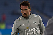 Christian Fuchs (28) warms up before the Premier League match between Leicester City and Watford at the King Power Stadium, Leicester, England on 4 December 2019.