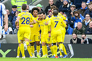 GOAL - Chelsea Forward Pedro celebrates 0-1 with Chelsea Midfielder Willian and Chelsea Midfielder Eden Hazar during the Premier League match between Brighton and Hove Albion and Chelsea at the American Express Community Stadium, Brighton and Hove, England on 16 December 2018.