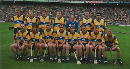 Clare-All-Ireland Hurling Champions 1995. Back Row: Brian Lohan, Michael Lohan, Conor Clancy, Davy Fitzgerald, Sean McMahon, Gerald O'Loughlin. Front Row: Liam Doyle, P J O'Connell, Ollie Baker, Anthony Daly (capt), Jamsie O'Connor, Fergal Hegarty, Fergus Tuohy, Stephen McNamara.