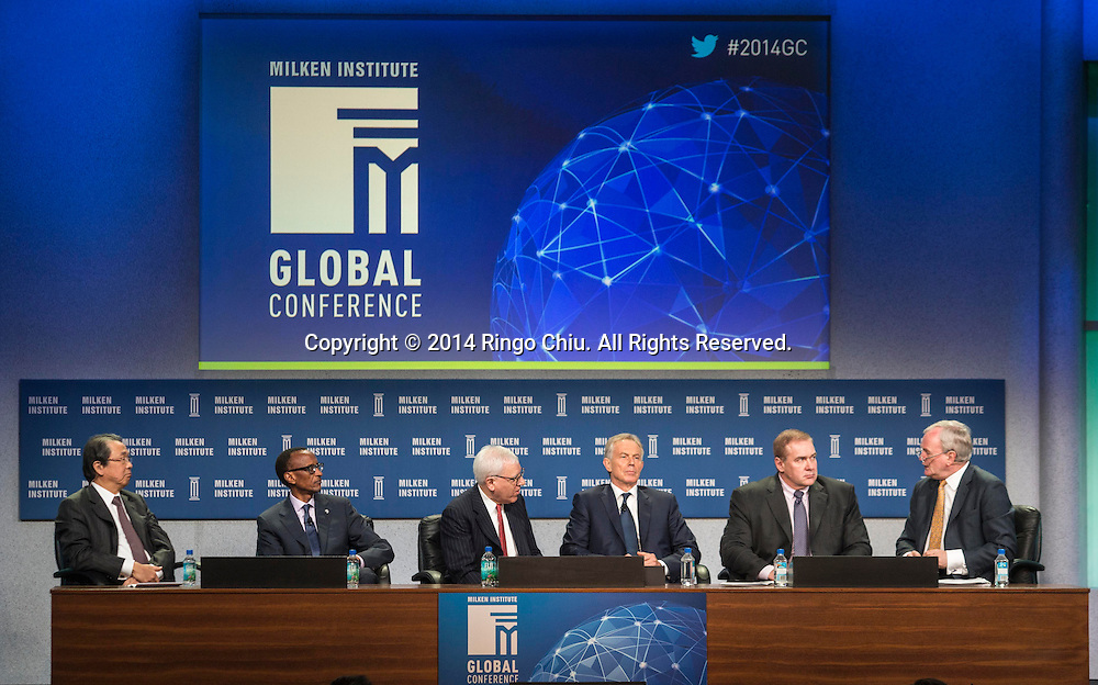 "From left to right, Osamu Nagayama, chairman and CEO of Chugai Pharmaceutical Co., Ltd.; chairman of Sony Corporation, H.E. Paul Kagame , president of the Republic of Rwanda, David Rubenstein co-founder and co-CEO of the Carlyle Group, Tony Blair, former Prime Minister of Great Britain and Northern Ireland, Scott Minerd, Scott Minerd , Managing Partner, global chief investment officer of Guggenheim Partners, and Willem Buiter, global Cchief economist of Citi, in a panel ""Global Overview: Where Does Growth Come From?"" during the Milken Institute Global Conference on Monday, April 28, 2014 in Beverly Hills, California. (Photo by Ringo Chiu/PHOTOFORMULA.com)"