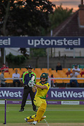 Jessica Jonassen batting during the Royal London Women's One Day International match between England Women Cricket and Australia at the Fischer County Ground, Grace Road, Leicester, United Kingdom on 4 July 2019.