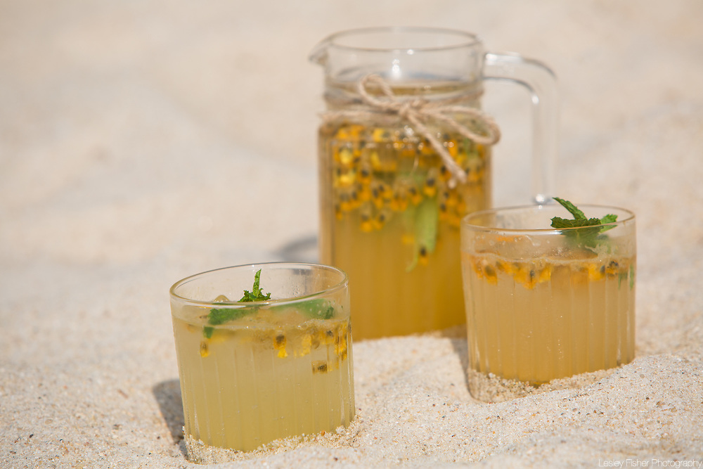 Fresh homemade lemonades served at Sea and Sky beach front restaurant located on Ban Tai beach, Koh Samui, Thailand