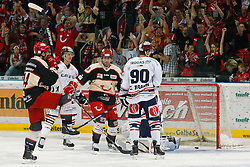 03.10.2011, TUI Arena, Hannover, GER, DEL, Hannover Scorpions vs Eisbaeren Berlin, im Bild Fuehrungstreffer fuer Hannover durch Ryan Maki (Hannover #44) .// during the match from GER, DEL, Hannover Scorpions vs Iserlohn Roosters on 2011/10/03, TUI Arena, Hannover, Germany. .EXPA Pictures © 2011, PhotoCredit: EXPA/ nph/  Schrader       ****** out of GER / CRO  / BEL ******