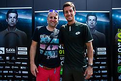 Aljaz Bedene Slovenian Tennis Player and Boston Boh during ATP Press conference with Aljaz Bedene, on July 25th, 2019, in Ljubljansko kopalisce Kolezija, Ljubljana, Slovenia. Photo by Grega Valancic / Sportida