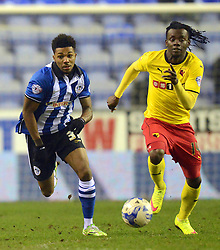 Watford's Juan Carlos Paredes competes with Wigan's Jerome Sinclair<br />  - Photo mandatory by-line: Richard Martin-Roberts/JMP - Mobile: 07966 386802 - 17/03/2015 - SPORT - Football - Wigan - DW Stadium - Wigan Athletic  v Watford - Sky Bet Championship